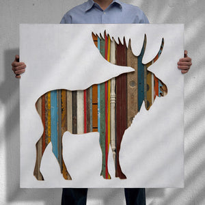 thumbnail for Bull Moose Mixed Media Silhouette Art