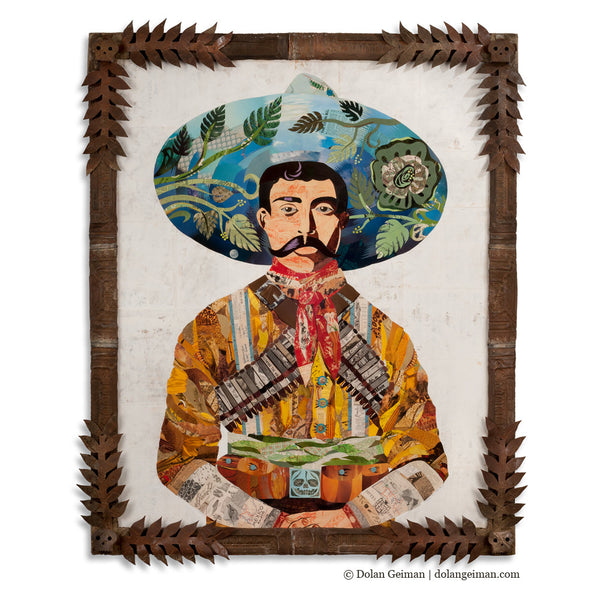 Senor Mexican Vaquero Paper Collage Art