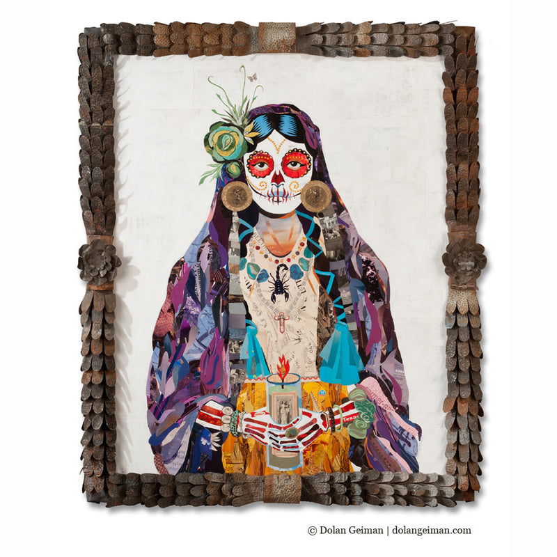 main image for Señorita Sugar Skull Paper Collage Art