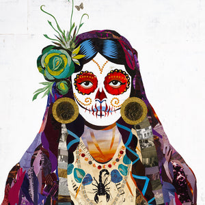 thumbnail for Señorita Sugar Skull Paper Collage Art