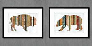 thumbnail for Mixed Media Bear Silhouette with Reclaimed Wood Art Print