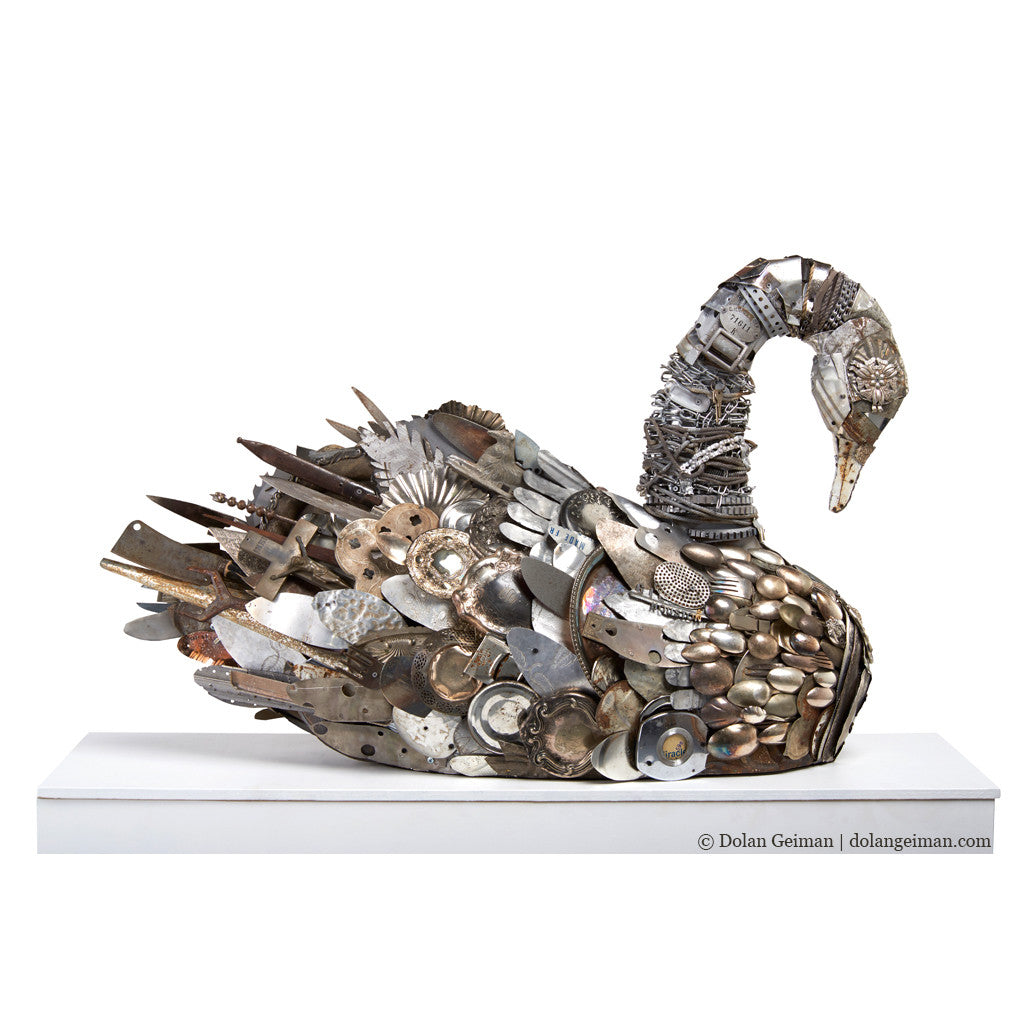 Silver Swan Mixed Media Sculpture
