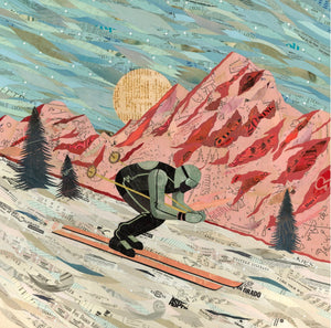 thumbnail for Last Run Ski/Skiing Art Print on Paper