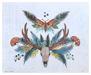 thumbnail for Small Works Event - Elk Skull with Moth and Mushrooms - Original by Dolan Geiman