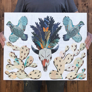 thumbnail for Small Works Event - Bison Skull with Quail and Cactus Paper Collage - Original by Dolan Geiman