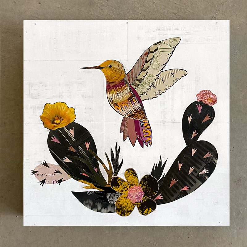 main image for Small Works Event - Small Hummingbird Collage - Original by Dolan Geiman
