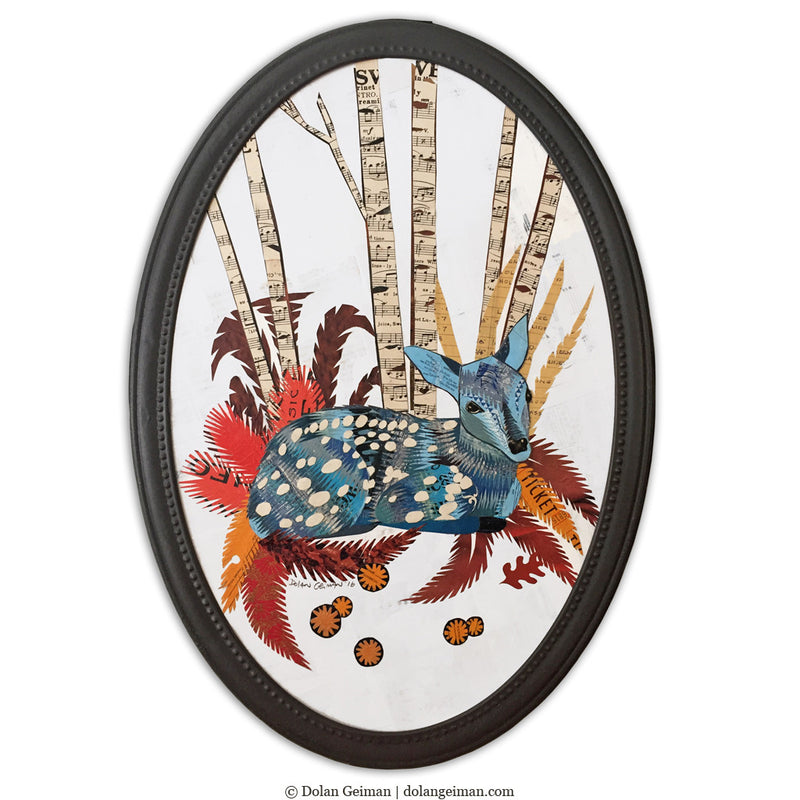 main image for Original Baby Fawn Deer Art in Oval Frame