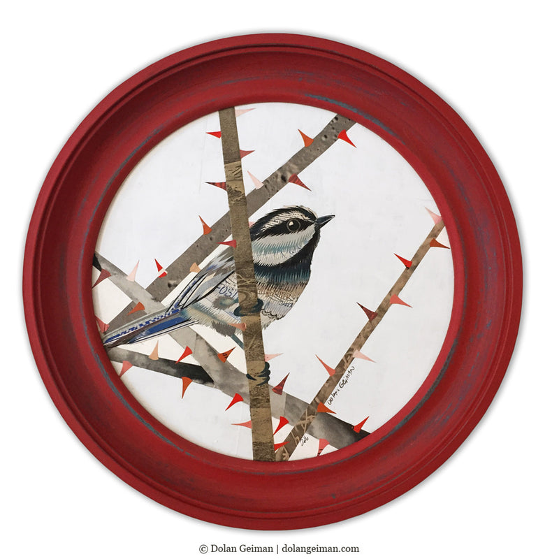main image for Original Chickadee Bird Art, Circular Paper Collage