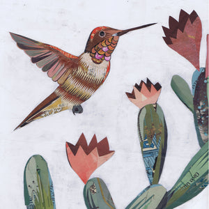 thumbnail for Hummingbird and Cactus Paper Collage