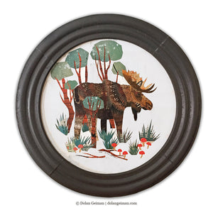 thumbnail for Original Moose Art, Circular Paper Collage