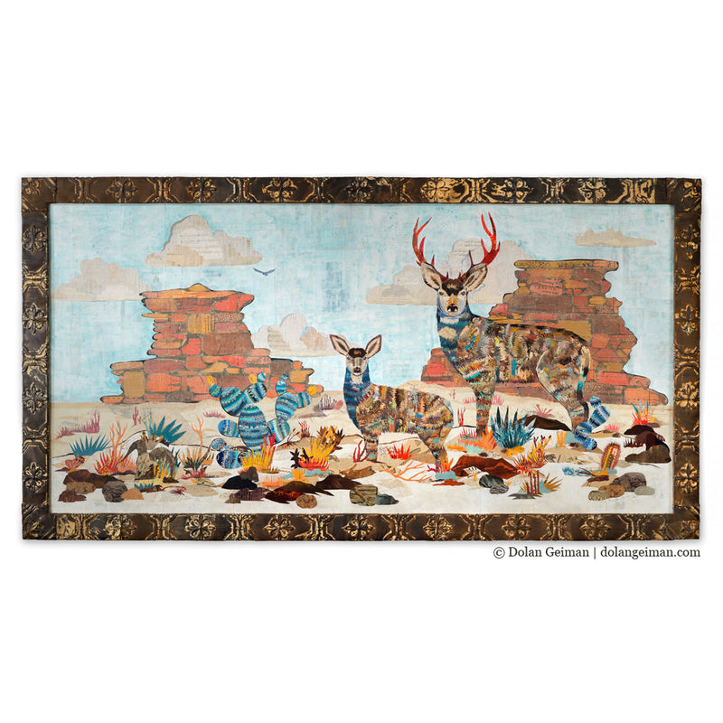main image for Deer and Red Rock Southwest Landscape Paper Collage Art