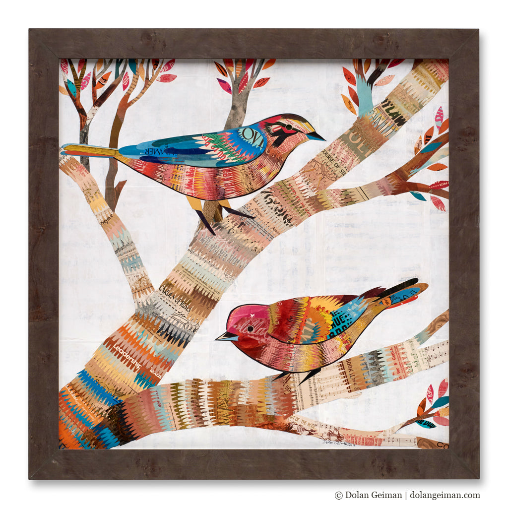 The Warblers with Wood Frame Square Paper Collage Art