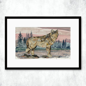 thumbnail for WHSL - Sunrise Visitor Wolf Art Print