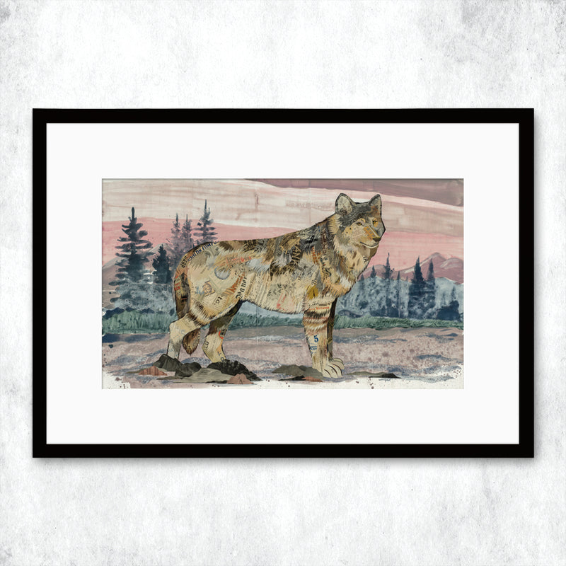 main image for WHSL - Sunrise Visitor Wolf Art Print