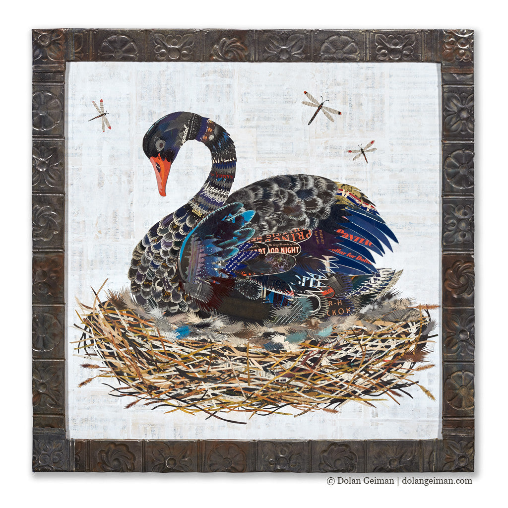 Swan in Nest Paper Collage Art