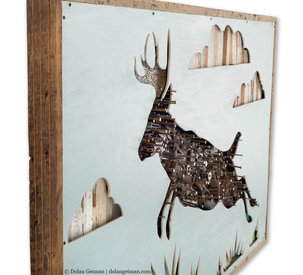 The Last Thing I Remember Leaping Deer Mixed Media Art