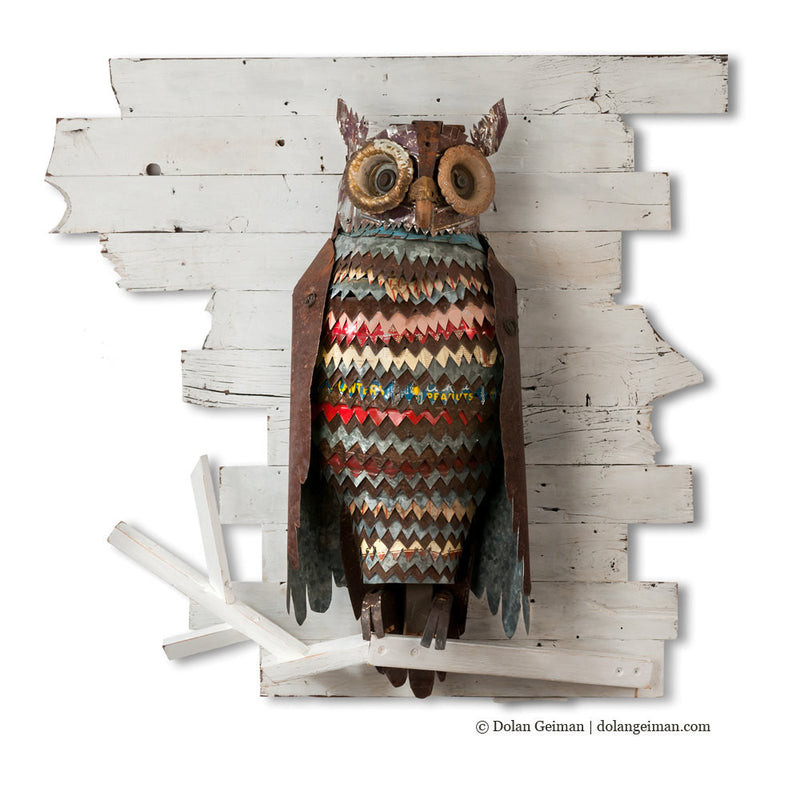 main image for The Path at Night Primitive Owl Metal Wall Sculpture