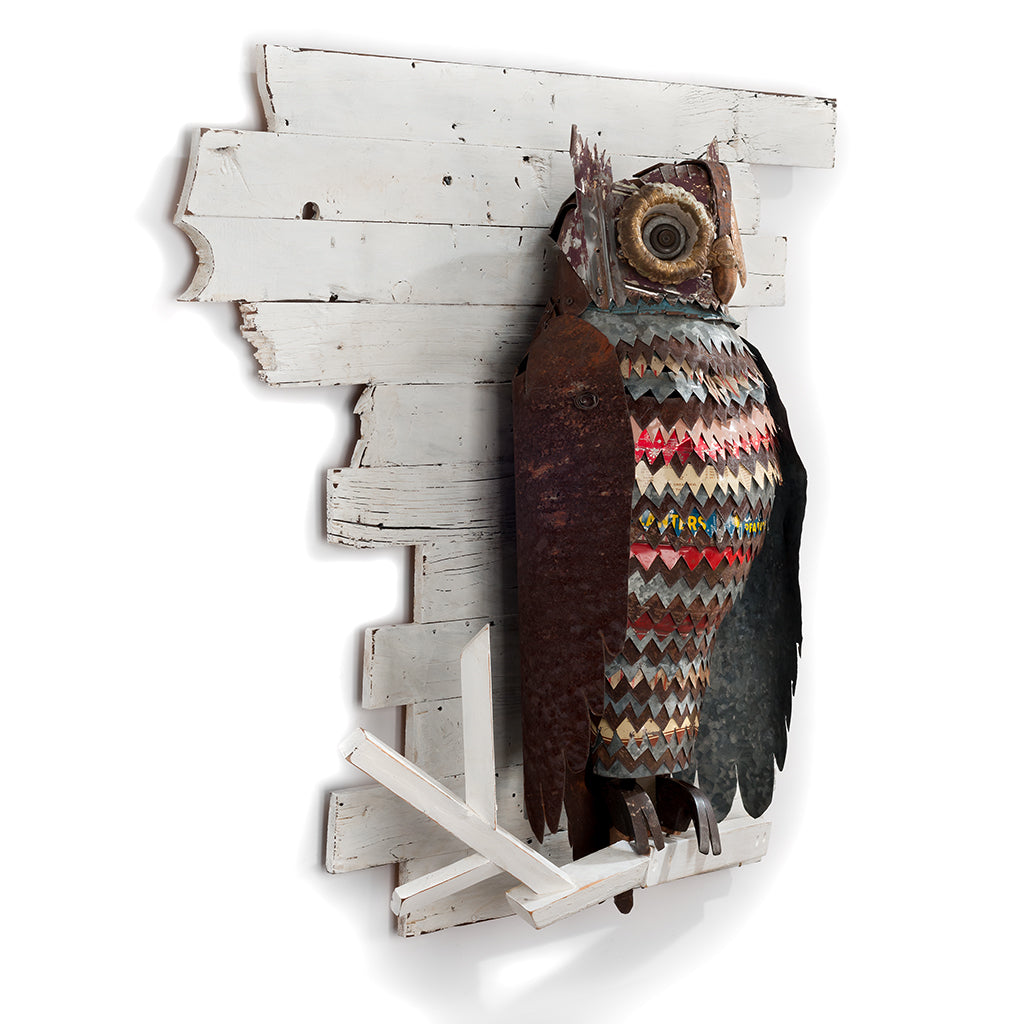 The Path at Night Primitive Owl Metal Wall Sculpture