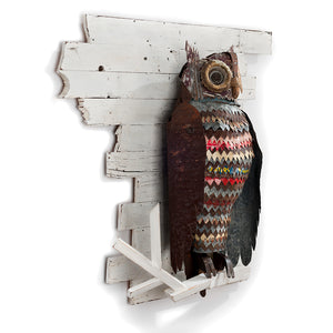 thumbnail for The Path at Night Primitive Owl Metal Wall Sculpture
