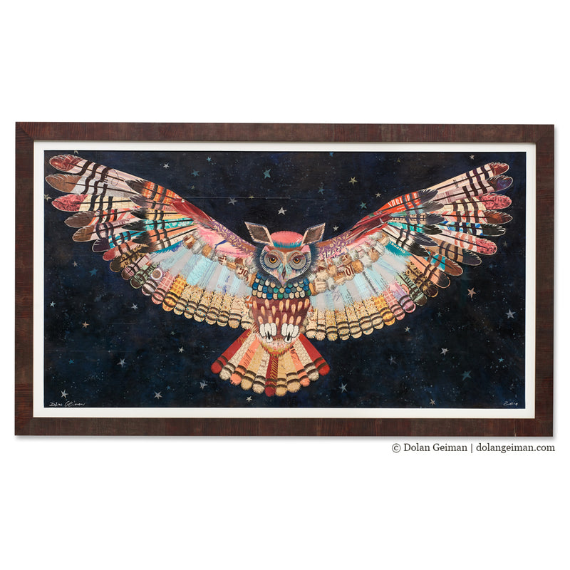 main image for Colorful Owl with Midnight Sky Original Paper Collage