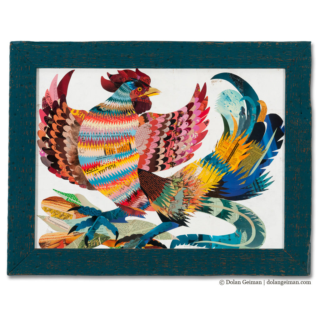 The Rooster Original Paper Collage