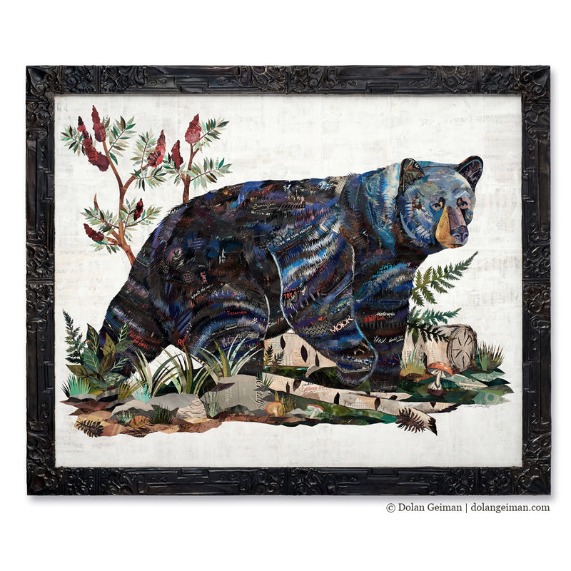 main image for Black Bear with Sumac Original Paper Collage