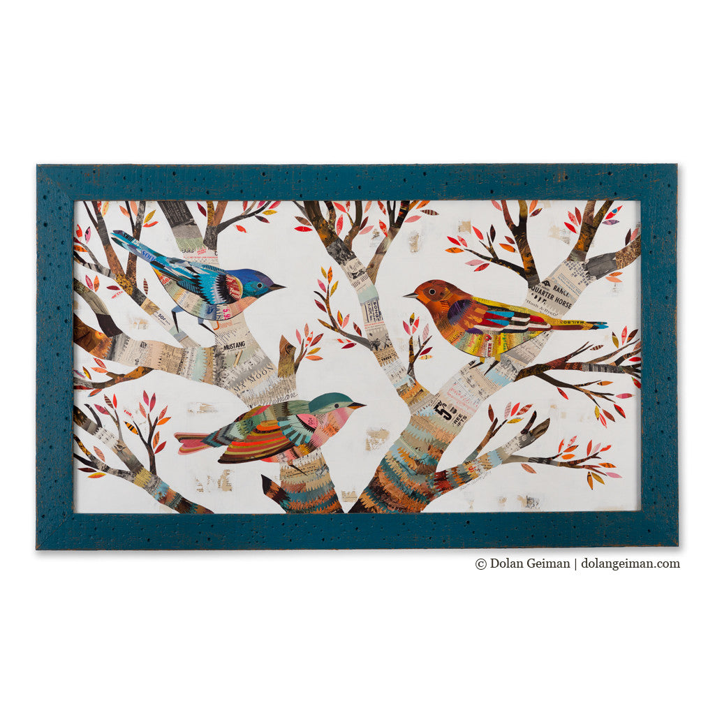The Warblers Horizontal Birds in Tree Paper Collage Art