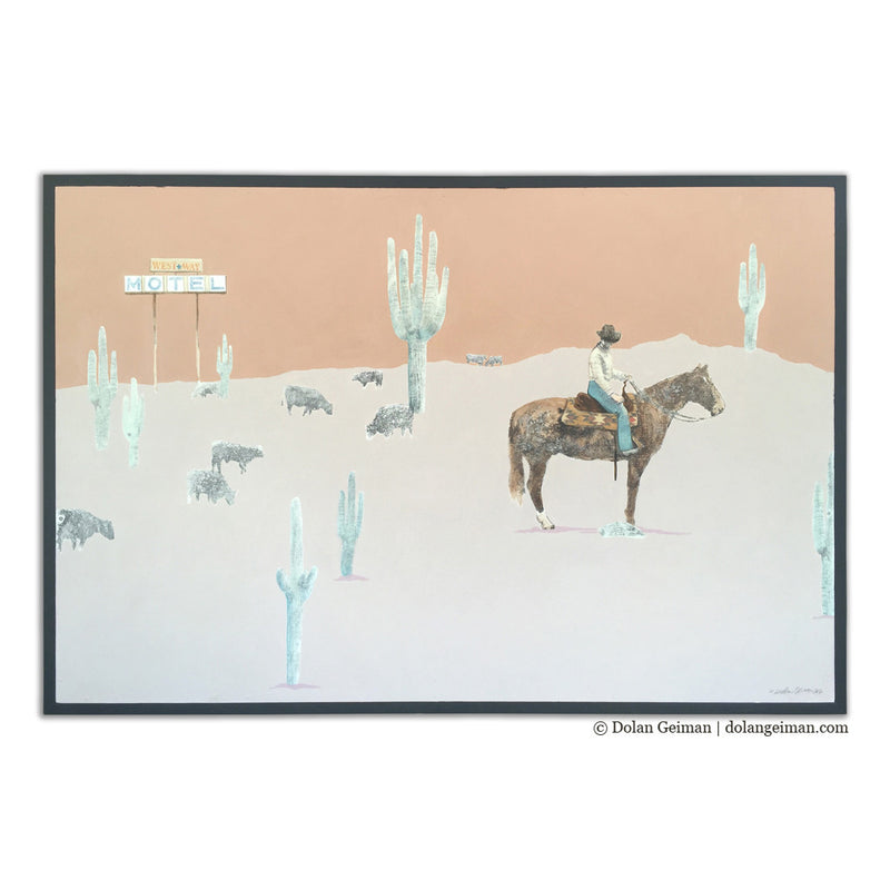 main image for Western Way Cowgirl in Desert Mixed Media Painting on Wood
