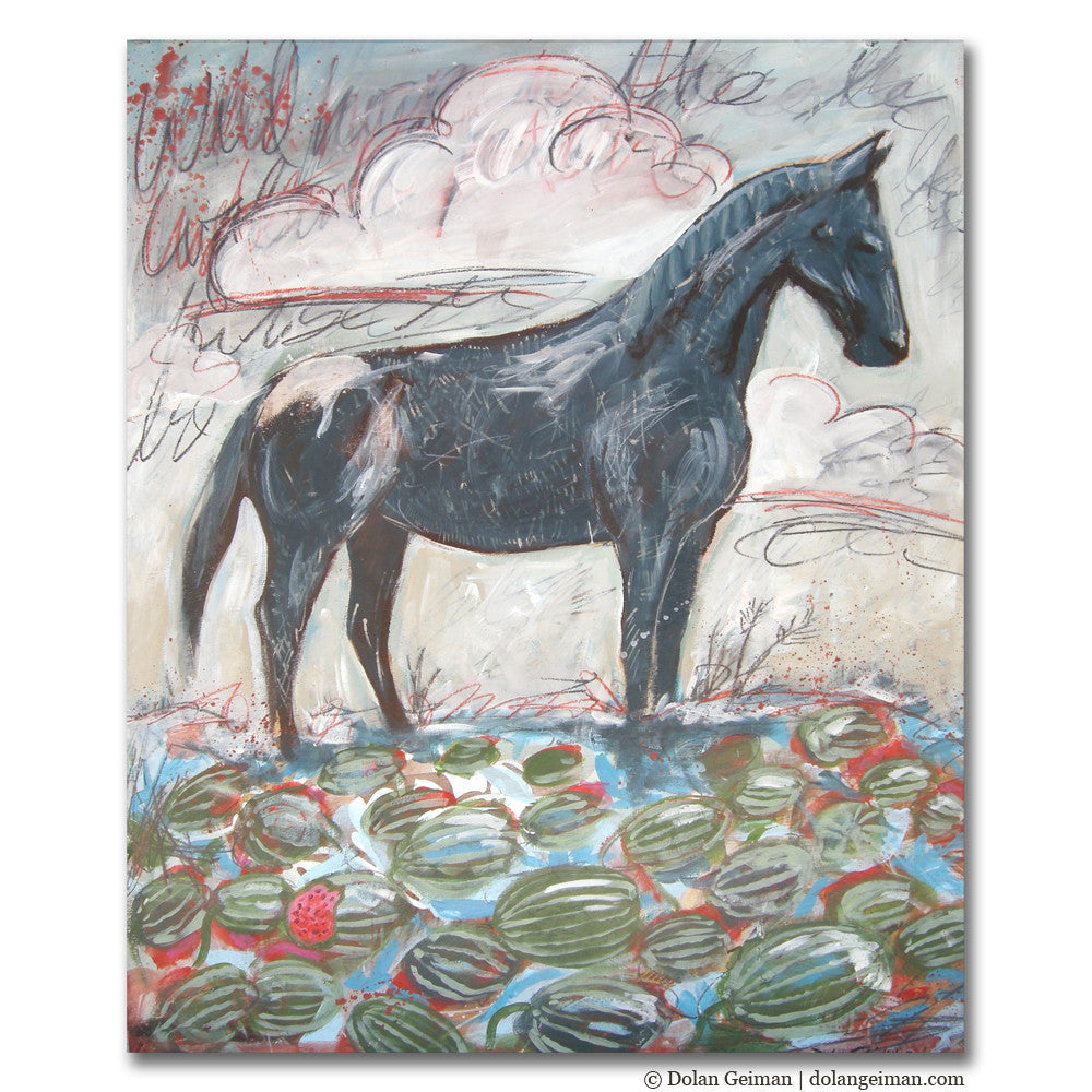 The Wild Horse in the Watermelon Patch Painting on Wood