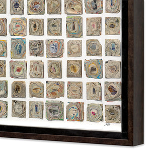 thumbnail for Stacked Papers / Abstract Topographic Map Original Framed Collage