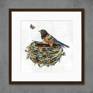 thumbnail for Towhee in Nest Bird Art Print