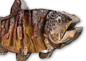 thumbnail for Brown Trout Mixed Media Wall Sculpture