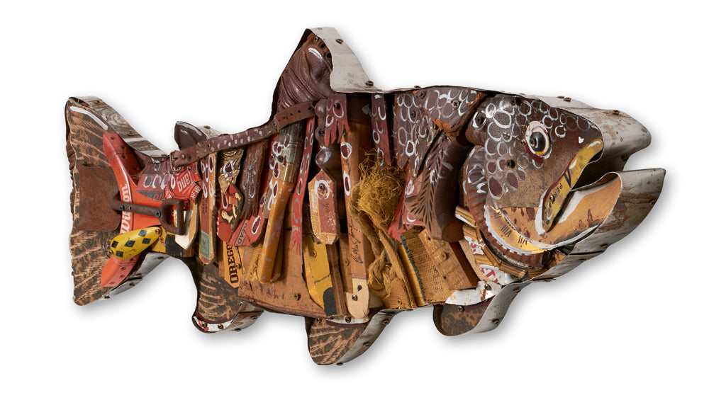 Brown Trout Mixed Media Wall Sculpture