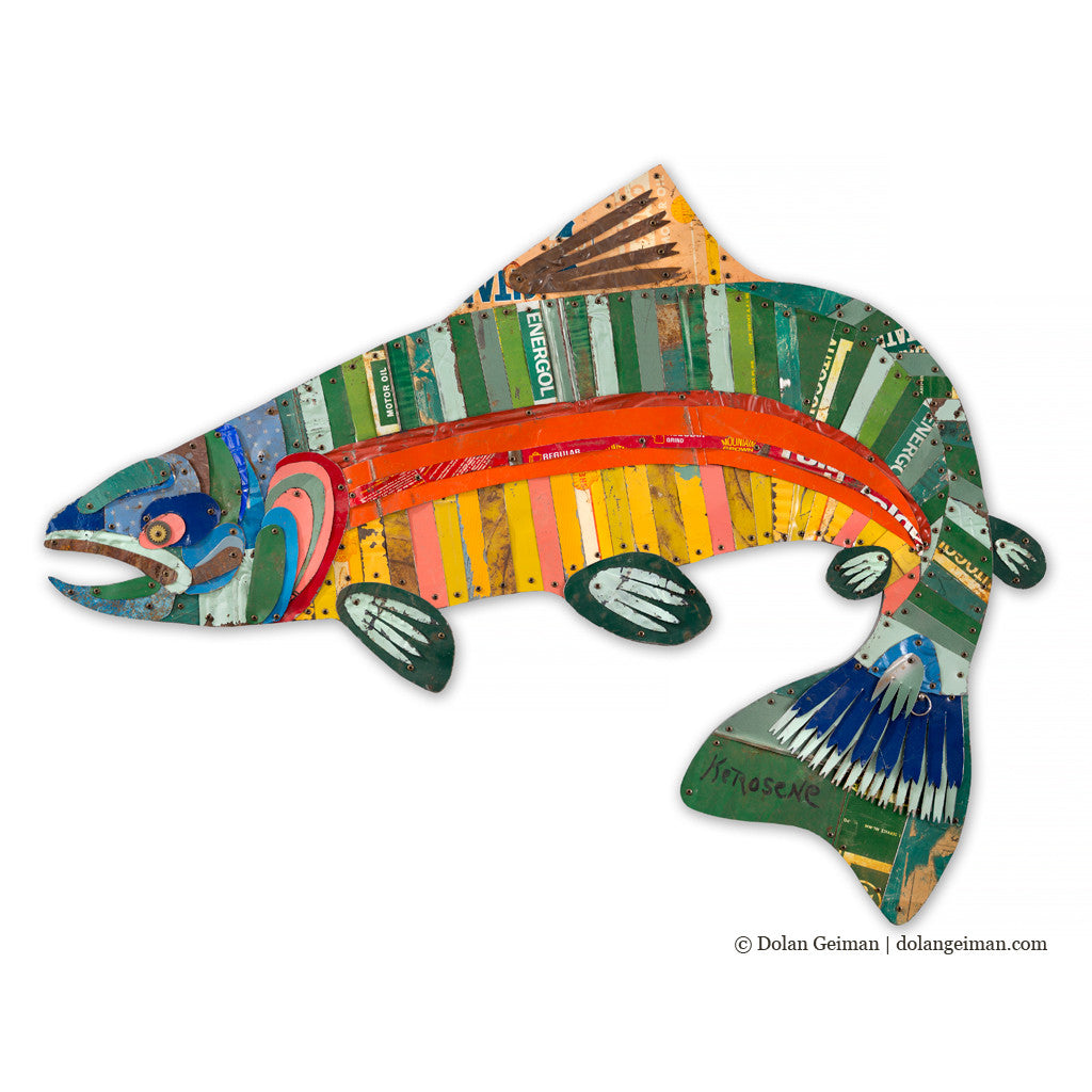 Metal Trout Fish Trophy Wall Sculpture