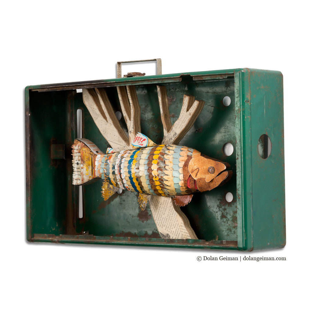 Trout in Vintage Coleman Stove Faux Taxidermy Fish Diorama