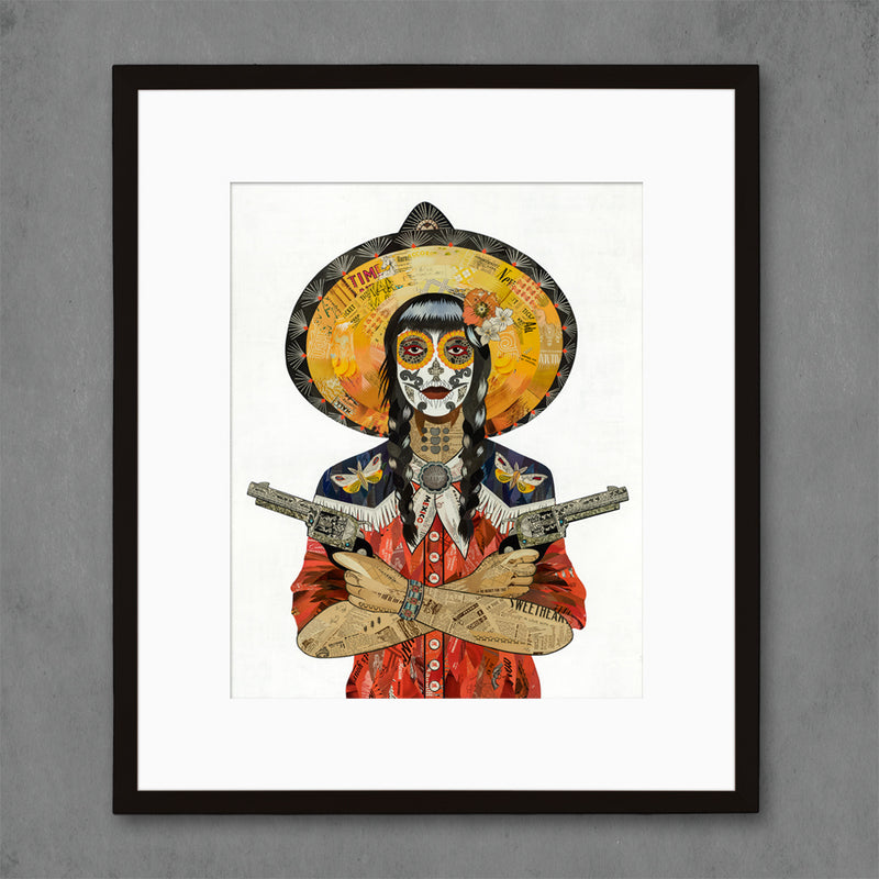 main image for Night Wing Vaquera Cowgirl with Moth Art Print