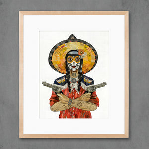 thumbnail for Night Wing Vaquera Cowgirl with Moth Art Print