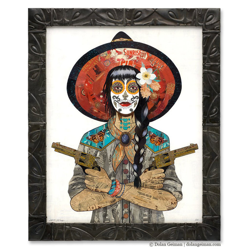 main image for Vaquera Painted Lady Original Paper Collage