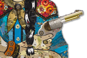 thumbnail for Metal Cowgirl with Turquoise and Floral Western Shirt Metal Wall Sculpture