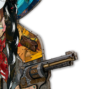 thumbnail for Black Widow Cowgirl with Pistols Metal Wall Sculpture