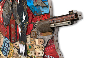 thumbnail for Cowgirl with Pistols (Red) Metal Wall Sculpture