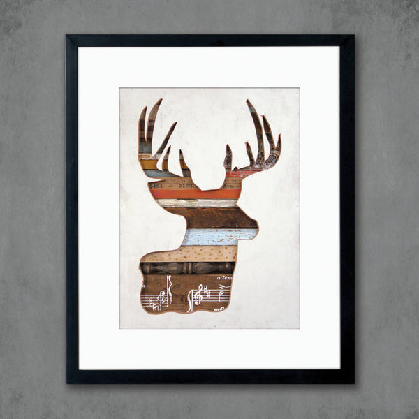 Virginia Den Deer with Antlers Silhouette Print