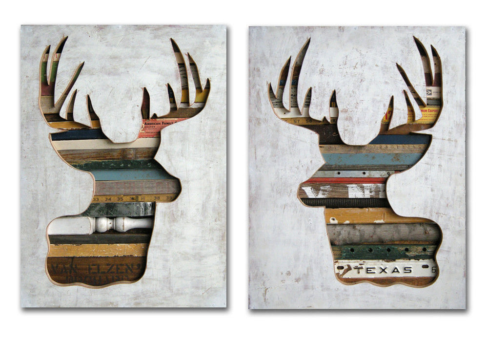 Virginia Den Set of 2 Deer Antler Silhouette Art