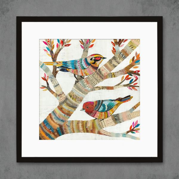 Warblers Square Pair of Birds in Tree Art Print | Dolan Geiman