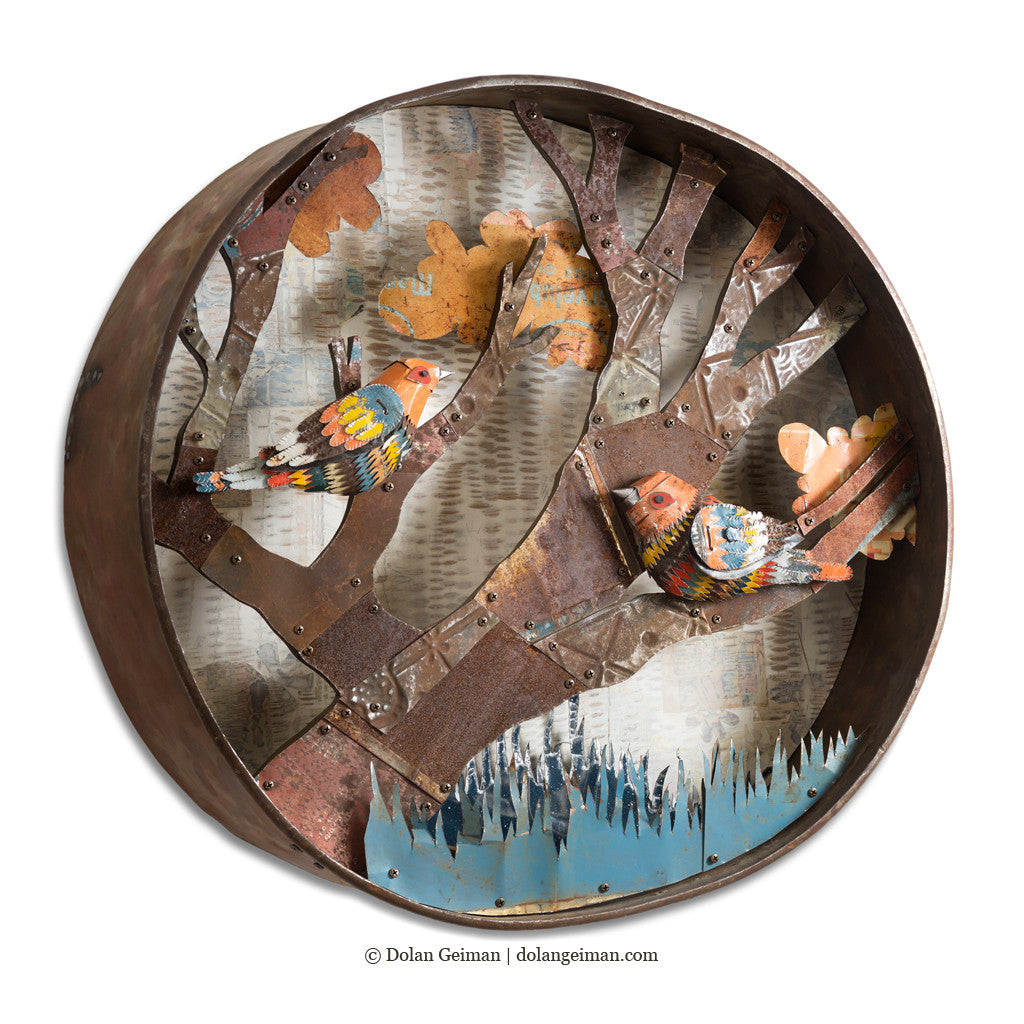 Warblers Circular Bird Sculpture Diorama with Industrial Metal