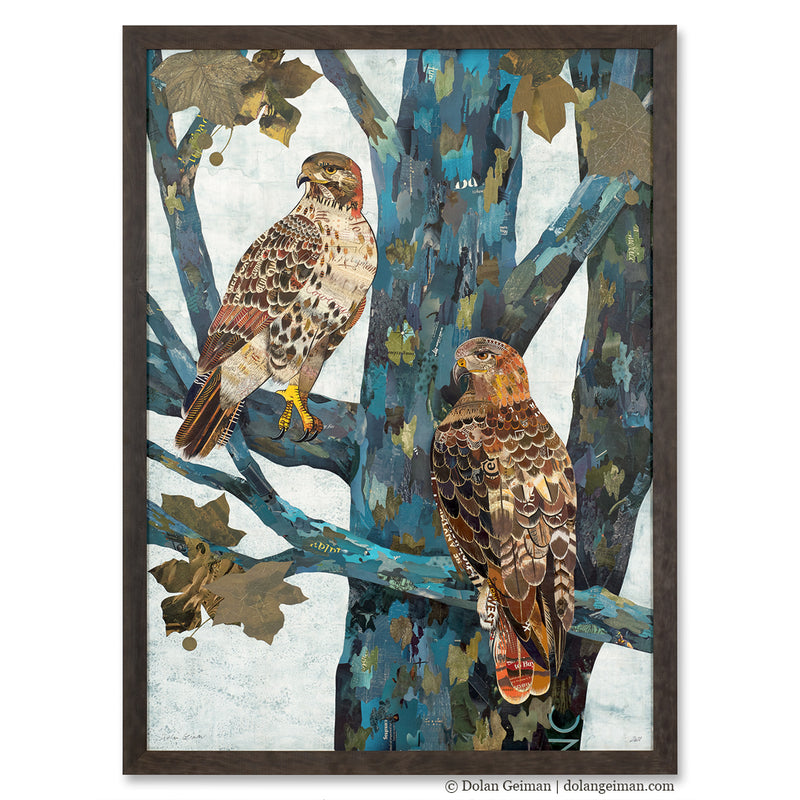 main image for Custom Red-Tailed Hawk Original Paper Collage