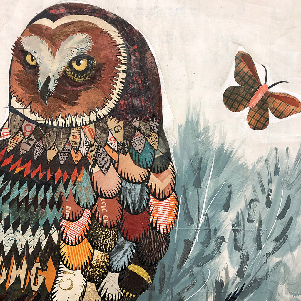 Owl with Sage Brush and Lizard Original Paper Collage