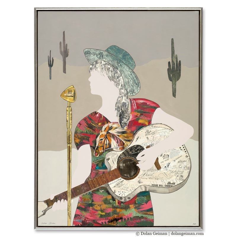 main image for Western Songbird - Cowgirl with Guitar Original Paper Collage