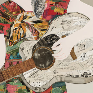 thumbnail for Western Songbird - Cowgirl with Guitar Original Paper Collage