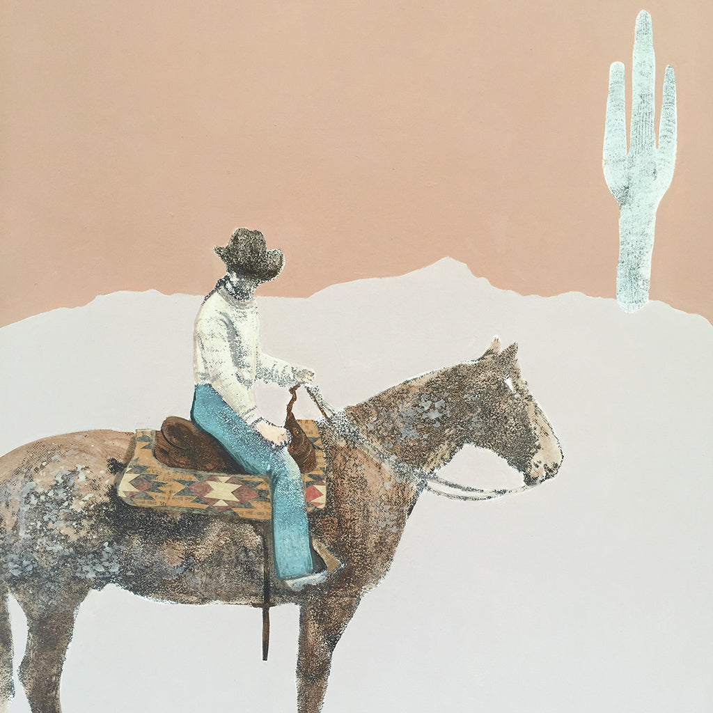 Western Way Cowgirl in Desert Mixed Media Painting on Wood
